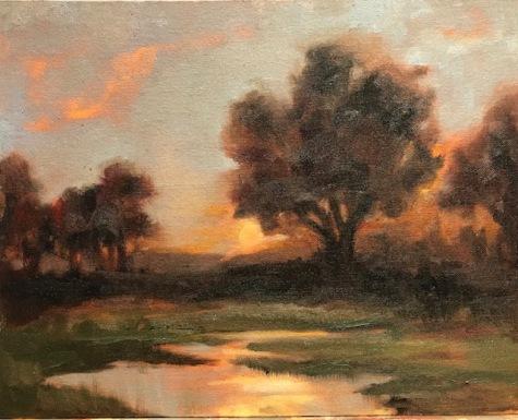 Sauvie Sunrise, oil, 11x14